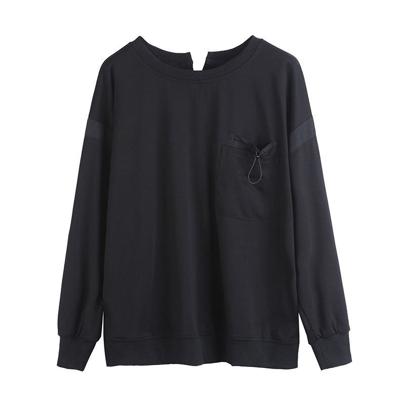 [EAM] Women Black Back Ribbon Split Joint Big Size T-shirt New Round Neck Long Sleeve  Fashion Tide  Spring Autumn 2020 1Z204 6
