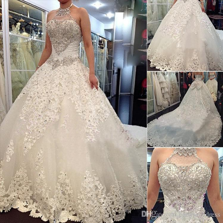 Bling Bling Beads Rhinestone A Line Bride Wedding Dresses Halter Applique Lace Chapel Long Bridal Gowns With Big Bow Back Modest