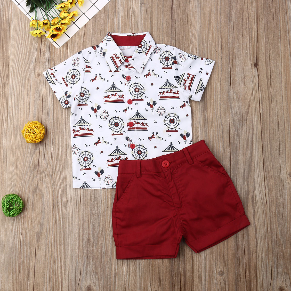 Pudcoco Toddler Baby Boy Clothes Merry-go-round Print Shirt Tops Short Pants 2Pcs Outfits Formal Gentleman Suit Clothes