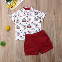 Pudcoco-ropa para niño pequeño, camisa con estampado de Merry-go-round, blusas Pantalones cortos, trajes de 2 uds, traje Formal de caballero, ropa