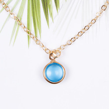 Fashion Round Glass Pendant Necklace Women Clavicle Chain Statement Necklace Collares Jewelry 2018 new simple popular electrocardiogram necklace for women fashion jewelry clavicle chain collares