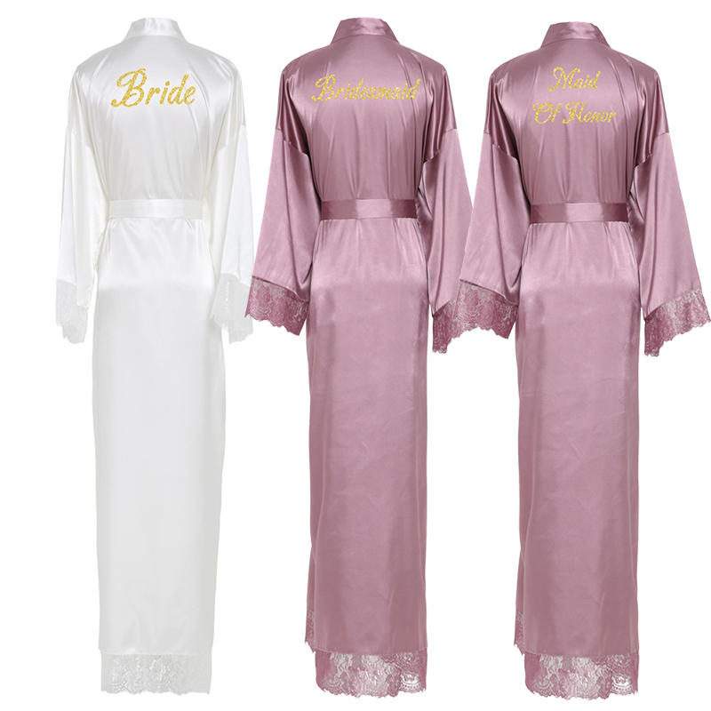 YUXINBRIDAL Mauve New Silk Satin Lace Robes Bridesmaid Bride Robes  Bridesmaid Robes Wedding  Long Robe Bathrobe Lingerie Robe