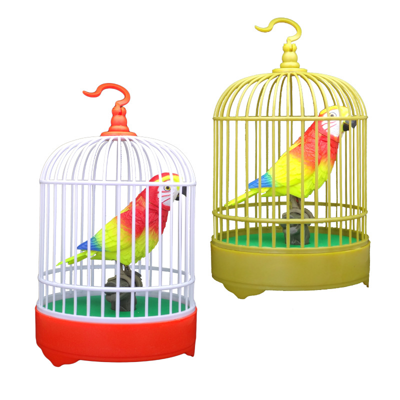Sound Control Bird Voice Touch Sensitive Electric Toys Birdcage Model Parrot Birdcage Light CHILDREN'S Toy