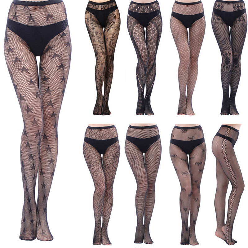 HSS Brand Hot Women Sexy Lingerie Mesh Black Pantyhose Stripe Elastic Stocking Fishnet Thigh Sheer Tights Embroidery Stockings