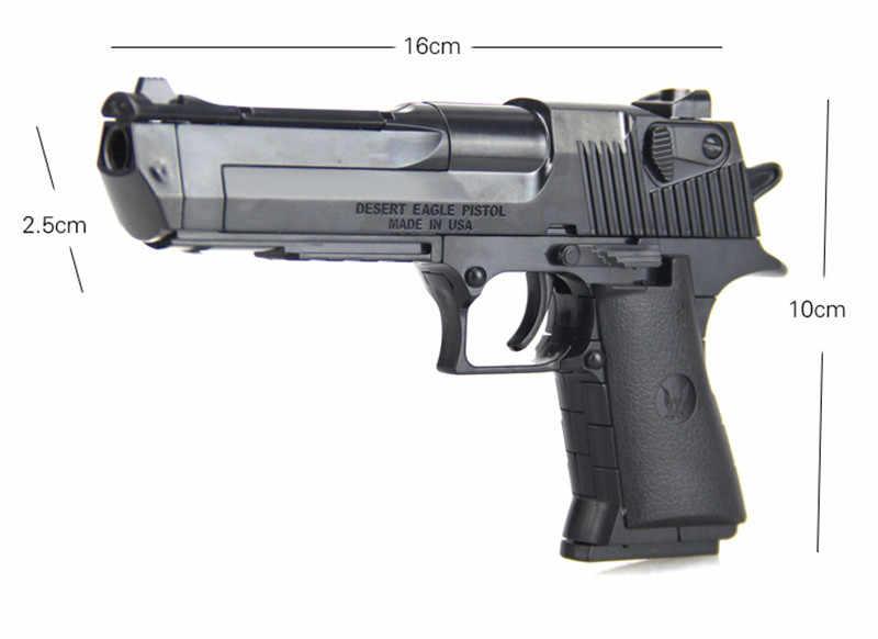 الشرطة SWAT DIY بها بنفسك مسدس لعبة الصحراء النسر نموذج اللبنات مجموعات سلاح التجمع لعبة الدماغ يمكن اطلاق النار الرصاص لعب للبنين