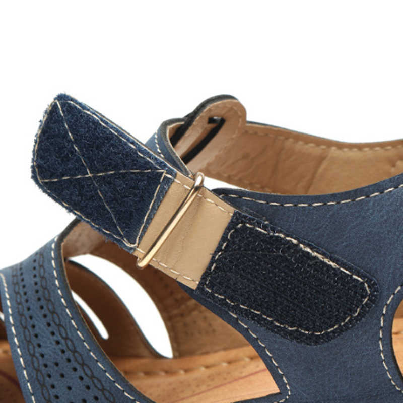 Kadın yaz deri bağbozumu sandalet toka rahat dikiş kadın ayakkabı kadın bayanlar platformu Retro ayakkabı artı boyutu 35-44