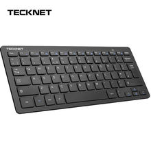 Tecknet 2.4 ghz reino unido teclado sem fio fino usb portátil teclados teclas quentes design para android smart tv windows 10 8 7 xp vista(China)