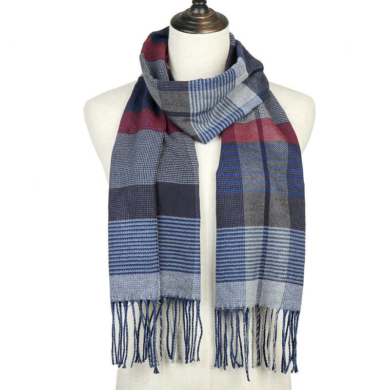 2019 Winter Women Plaid Scarf Shawls Pashmina Cashmere Knit Soft Lady Neck Wraps Unisex Retro Lattice men's Scarves Stole