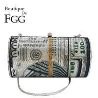Boutique De FGG Novelty Oval Barrel of Cash Women Money Crystal Evening Clutch Bag Party Diamond Minaudiere Handbags and Purses