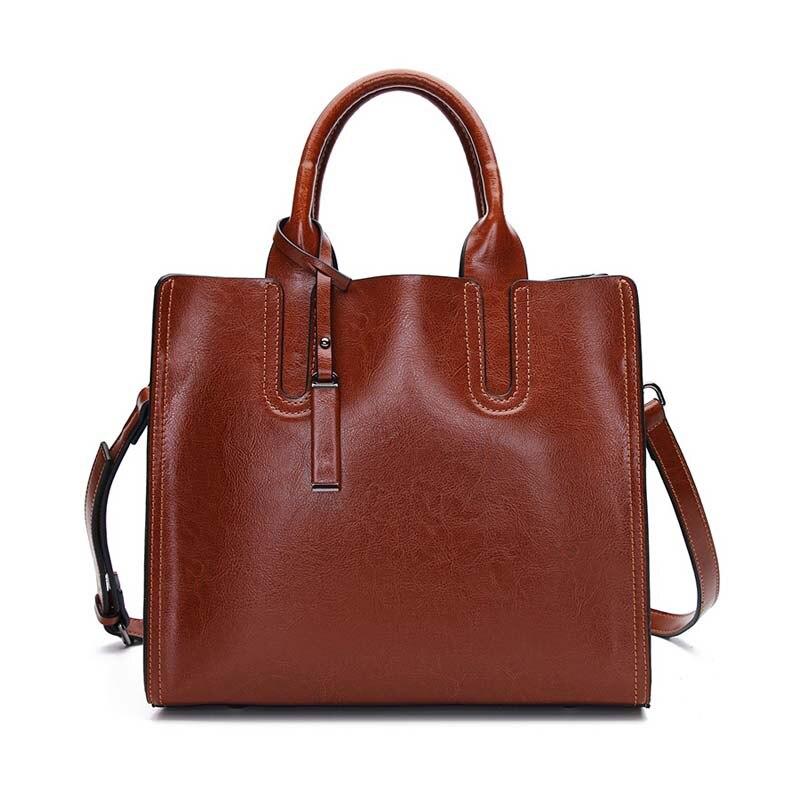 Vintage Oil Wax Cow Leather Women Handbags Genuine Leather Big Capacity Female Red Tote Bags Ladies Crossbody Bags 2020