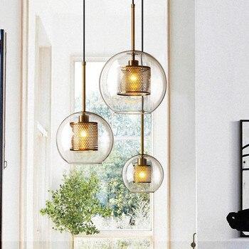 Lámpara colgante de bola de cristal nórdico para comedor, restaurante, dormitorio, decoración del hogar, iluminación de cocina