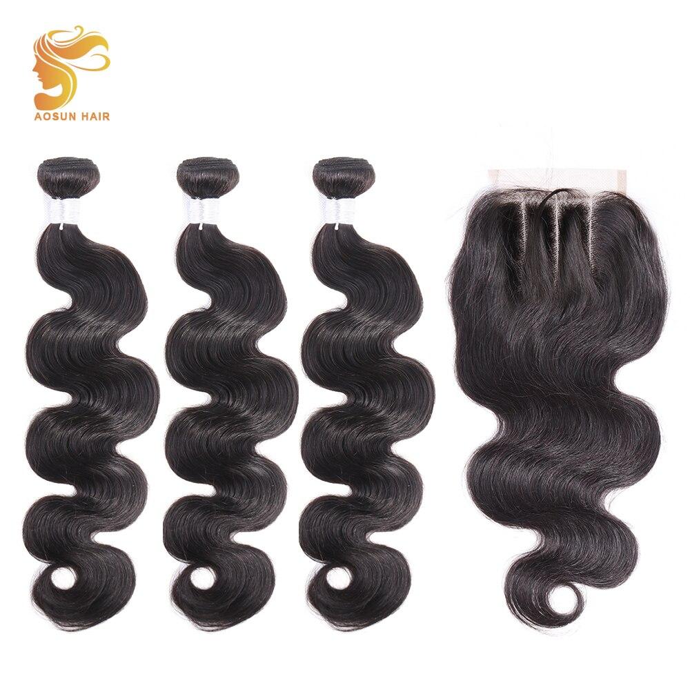 AOSUN HAIR Body Wave Bundles With Closure Brazilian Hair Weave Bundles With Closure 100% Human Hair Bundles With Closure Remy