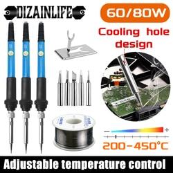 Kit de pistola para soldar temperatura ajustable 220V 60W 80W soldadura herramientas de soldadura calentador de cerámica puntas de soldadura herramienta bomba de soldadura