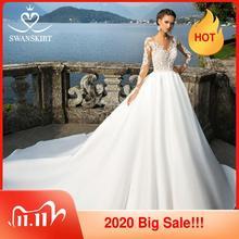 Swanskirt Vestido de novia de satén, cuello redondo, apliques de manga larga, línea A, tren capilla, Vestido de novia Princesa, I140 Vestido de novia, 2020