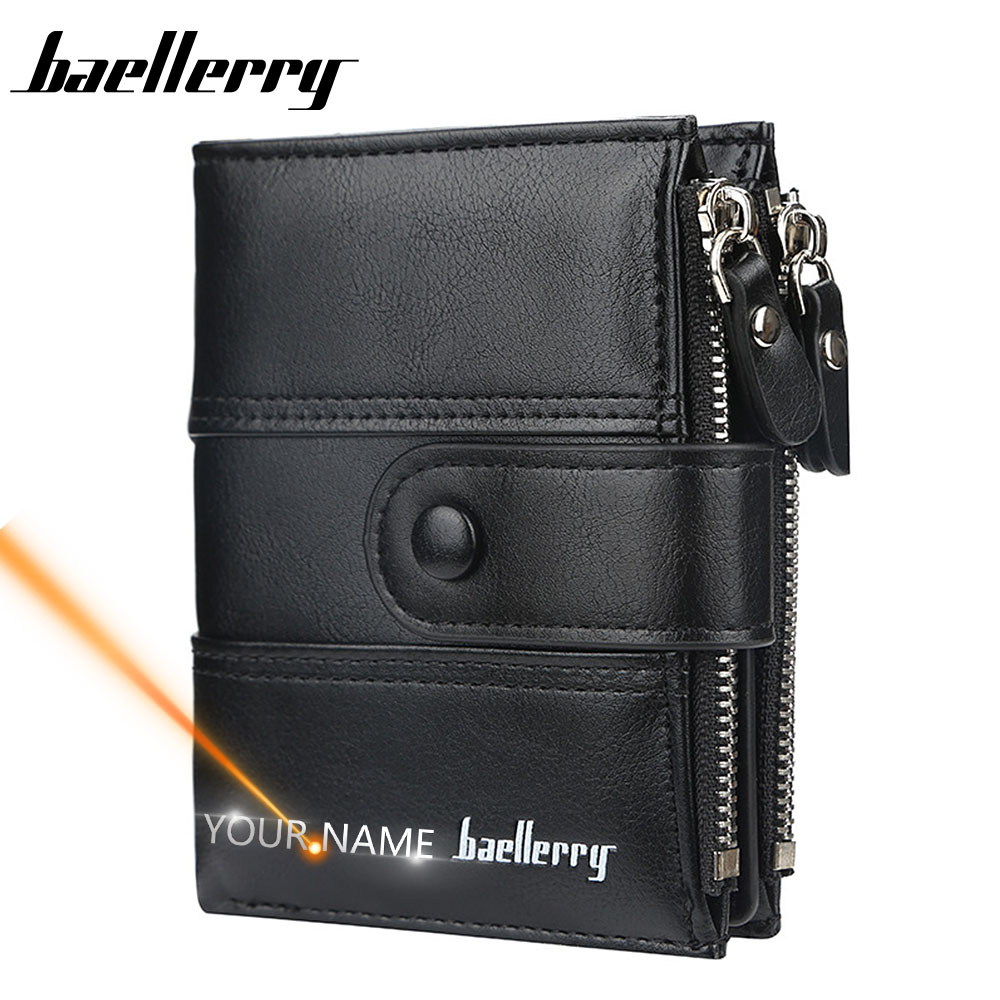 2020 Men Wallets Free Name Engraving Double Zipper Card Holder High Quality Male Purse Vintage Coin Holder Men Wallets Carteria