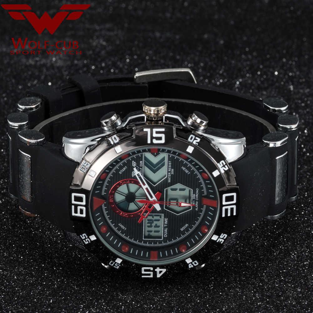 Wolf-cub Mannen Sport Horloges Dual Display LED Digitale Analoge Elektronische Quartz Horloges 30M Waterdicht Man Klok