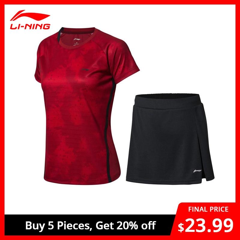 Li-Ning Women's Badminton Competition Sets T-shirts + Skirts Suits Breathable AT DRY LiNing Li Ning Sports Set AATN012 WAT1167