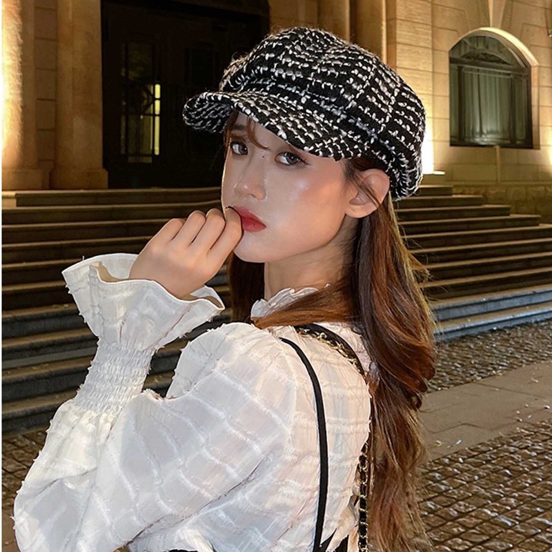 Newsboy Caps for Women Autumn Retro Plaid Gatsby Cap Octagonal Baker Peaked Beret Lady Sunscreen Wool Painter Cap
