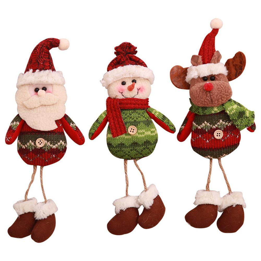 Urijk Red And Green Snowman Dolls Hanging Pendant Christmas Decoration Gift Old Man Charm Dolls Parachute Ornaments Toy New Year