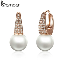 BAMOER Rose Gold Color Earrings for Women with Simulated Pearls & Crystals Earrings For Women In Dangle Earrings JIE060