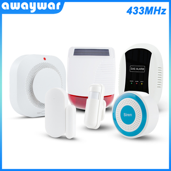 цена на Awaywar Wireless 433MHz Alarm System kit home Security Burglar PIR Motion Detector Door/Window Sensor Smoke Detector Solar Siren