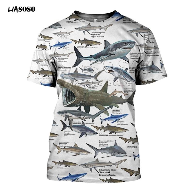 3D All Over Print Shirts Underwater World Illustration Shark White  Men  Women Short Sleeve Hoodie Pullover Beach Pant T-shirt