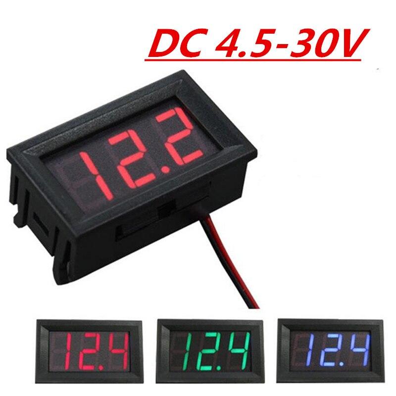 Цифровой дисплей напряжения постоянного тока от 4,5 В до 30 В, 1 шт., красный/зеленый/синий панельный измеритель для 6 в 12 В вольтметр Для электро...