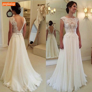 Elegant Boho Chiffon White Wedding Dress Long 2020 Lace Appliqued Sleeveless Ivory Gowns Cheap Garden Sexy Bride Dresses