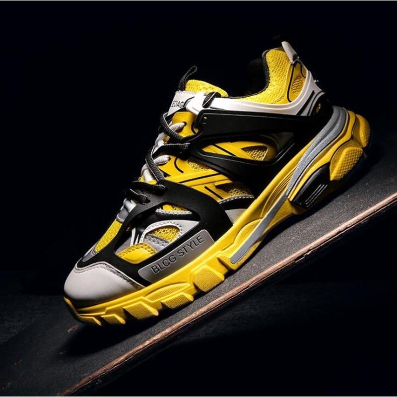2019 винтажные массивные кроссовки; цвет желтый, черный, белый; Модная легкая дышащая мужская повседневная обувь; мужские кроссовки; zapatos hombre - 4