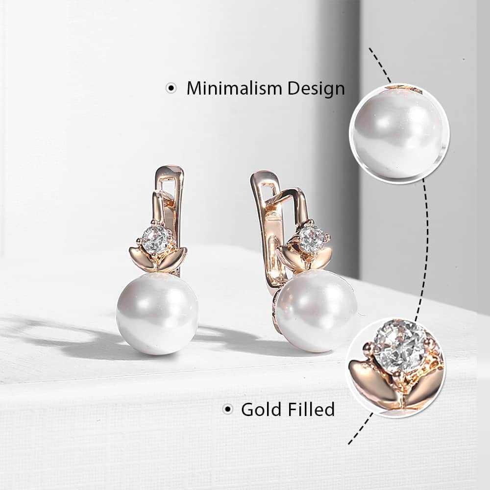 Pearl ต่างหูผู้หญิงหญิง 585 Rose Gold Cubic Zirconia ต่างหูแฟชั่นผู้หญิงเครื่องประดับของขวัญวาเลนไทน์สำหรับผู้หญิง KGE128