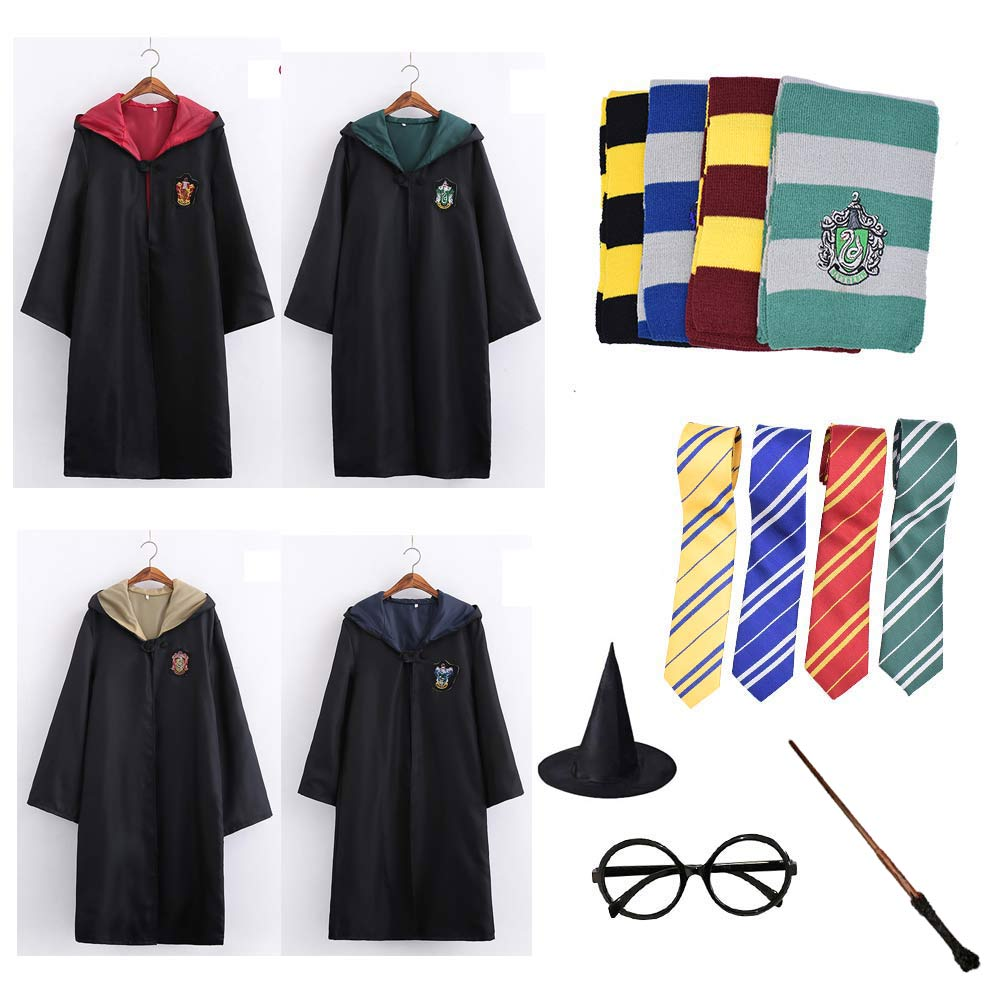 Robe Cape Cloak With Tie Scarf Wand Potter Glasses Ravenclaw Gryffindor Hufflepuff Slytherin Costume Adult Potter Cosplay