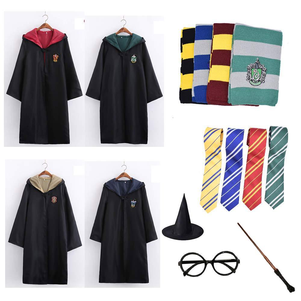 Manto Cabo Manto Com Gravata Cachecol Varinha Oleiro Óculos de Harry Potter Gryffindor Slytherin Hufflepuff Ravenclaw Adulto Traje Cosplay