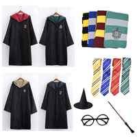 Robe Capo Mantello con Cravatta Sciarpa Bacchetta Potter Occhiali Corvonero Grifondoro Tassorosso Serpeverde Costume Adulto Potter Cosplay