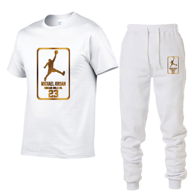 Men's Brand Clothing Suit Jordan T-shirt Sweatpants 2 Piece Tracksuit Short Round Neck Pullover Trousers Knitwear Free Express