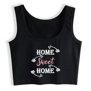 Crop Top Female Hygge Hogar Dulce Hogar Cool Harajuku Print Tops Women image