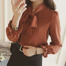 2019 Celmia Brown Women Solid Blouse Fashion Casual High Collar Petal Sleeve Blusas Bow Tops OL Office Lady Shirt Plus Size