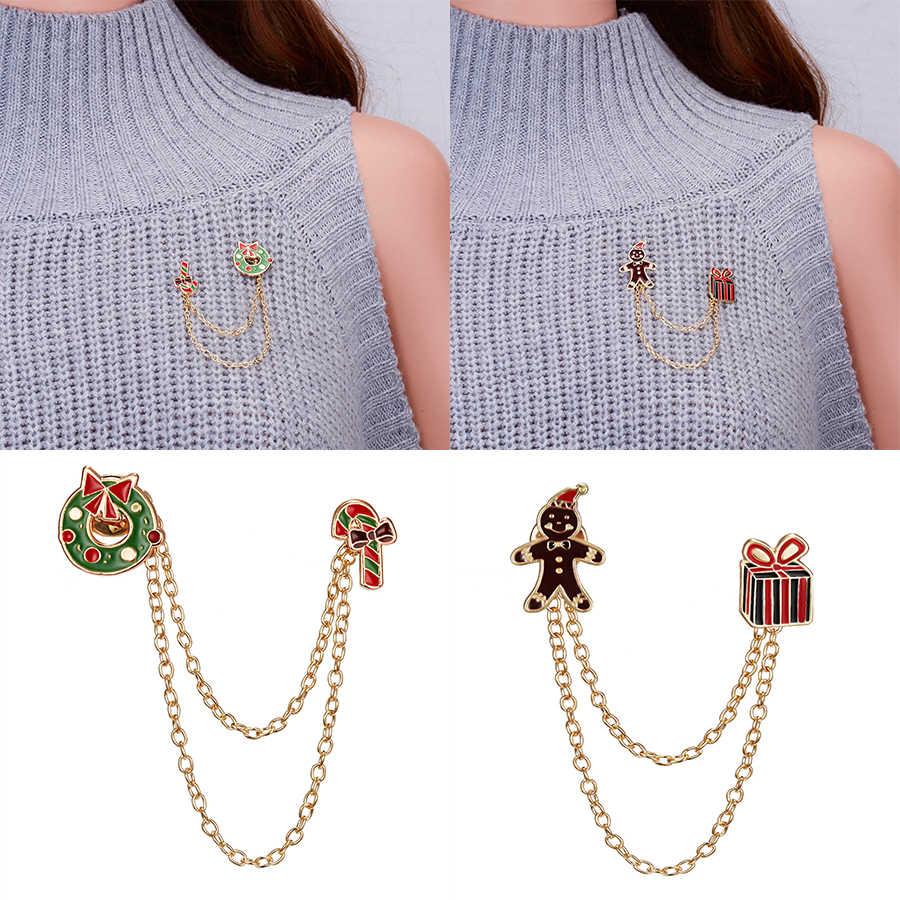 Rinhoo offre spéciale créative noël cadeau boîte béquille couronne petit Badge chaîne broches broches pour femmes manteau Corsage mode bijoux