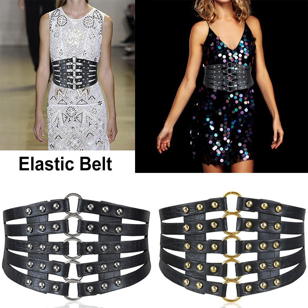 Leather Wide Waist Belt Hollow Rivets Stretch Waist Cincher Waistband For Skirt And Down Jacket Elastic Belts For Woman