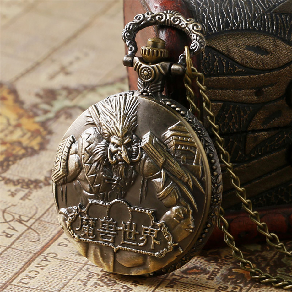 Vintage Bronze World Of Warcraft Steampunk Pocket Watch Best Gift To Game Boys