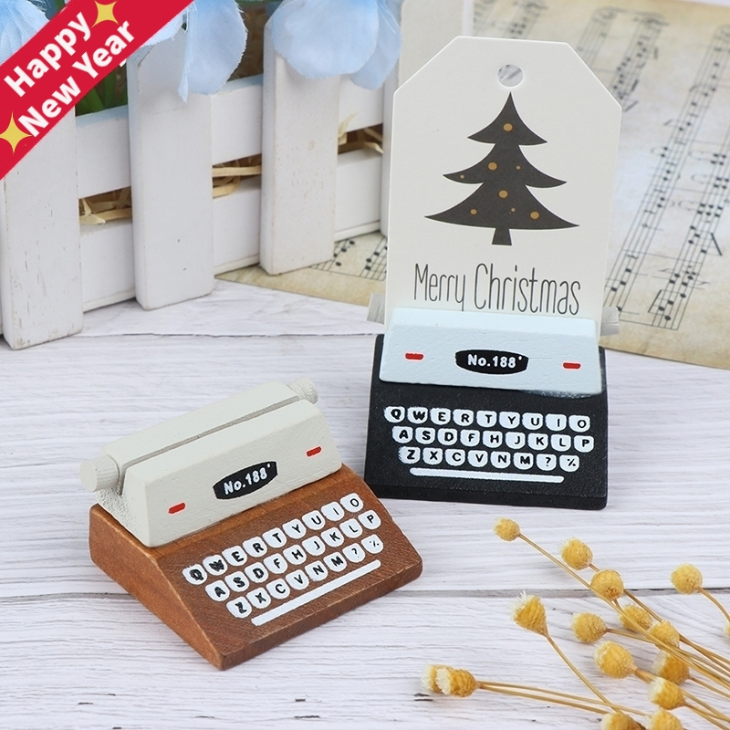 Creative Vintage Wooden Typewriter Card Picture Holder Memo Clip Scrapbook Photo Clamps Desktop Decoration Office Supplies