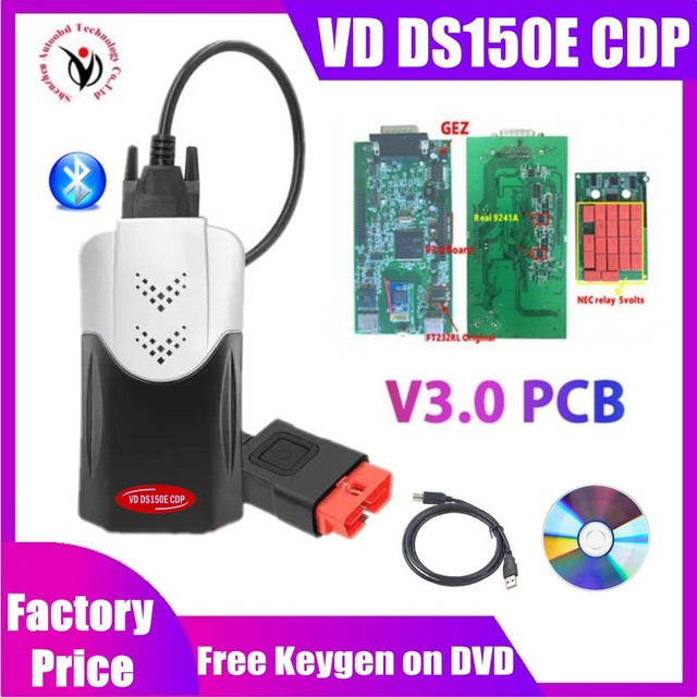 VD TCS CDP Pro with Bluetooth 2017 Keygen V3.0 new relays obd2 scanner for delphis vd ds150e cdp car truck OBDII diagnostic tool
