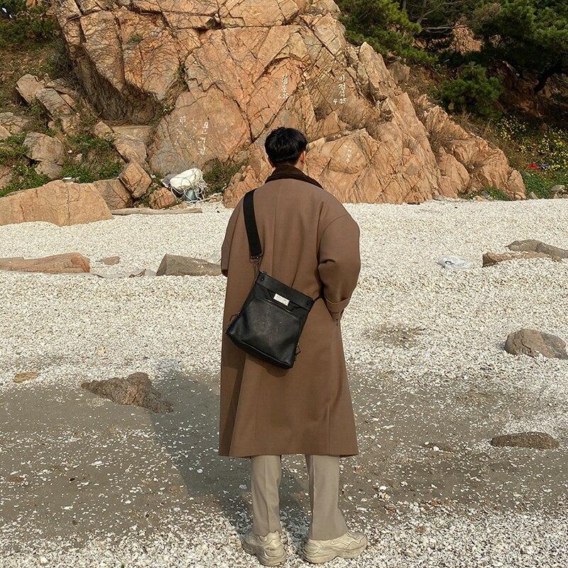 2019 invierno nuevo japonés Retro cuello costura felpa golpe grueso abrigo de lana moda Casual Camisa de Color sólido negro/marrón - 4