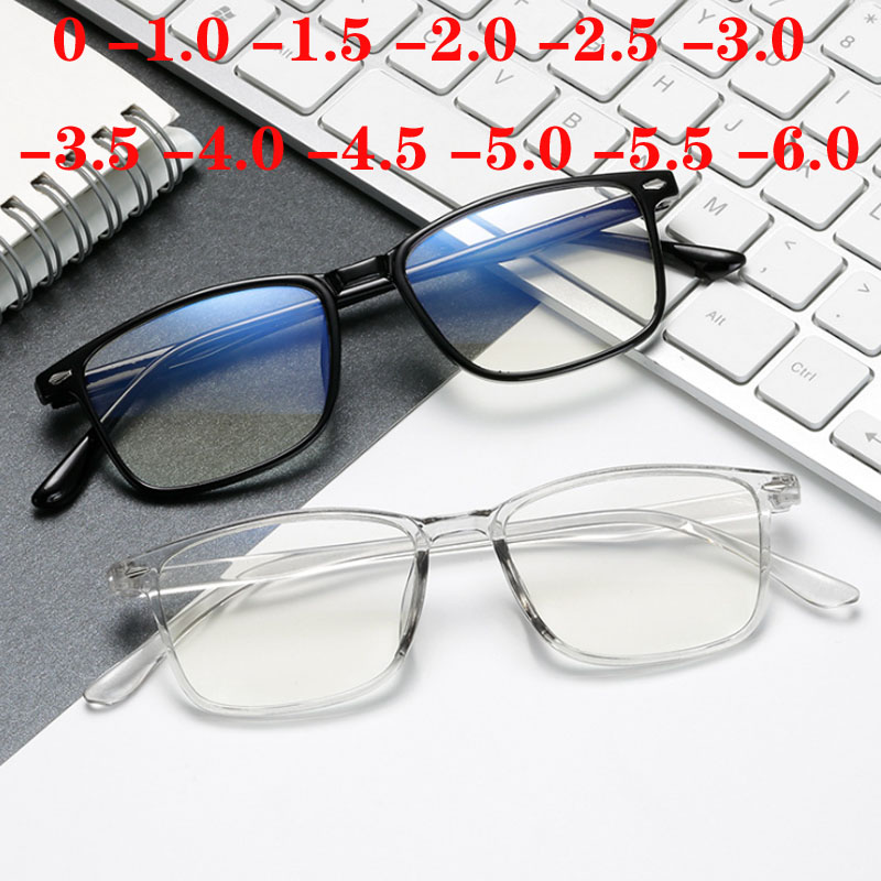 Fashion Mens Women Unisex Myopia Glasses Nearsighted Eyewear With Blue Coated 0 -1 -1.5 -2 -2.5 -3 -3.5 -4 -4.5 -5 -5.5 -6.0