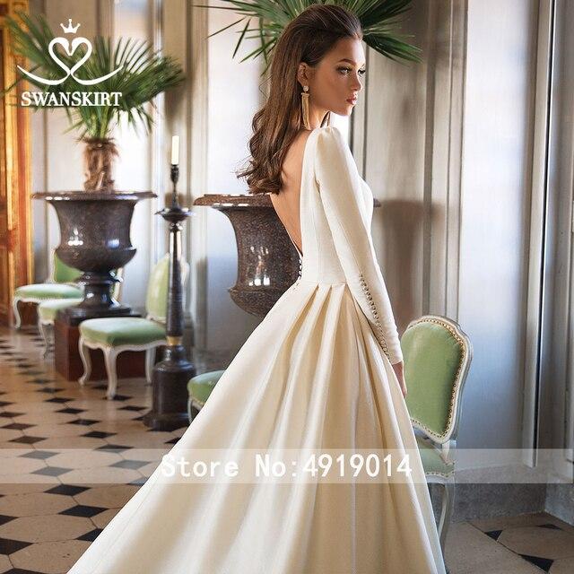 Long Sleeve Satin Wedding Dress SwanSarah Vintage Backless Princess A-Line Court Train Bride Grown Button Vestido De Noiva I195 2