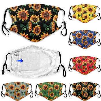 #40 Adult Mask Sunflower Printing Reusable Protective Outdoor Pm2.5 Filter Mouth Mask Face Mask Windproof Adjustable Facemasks