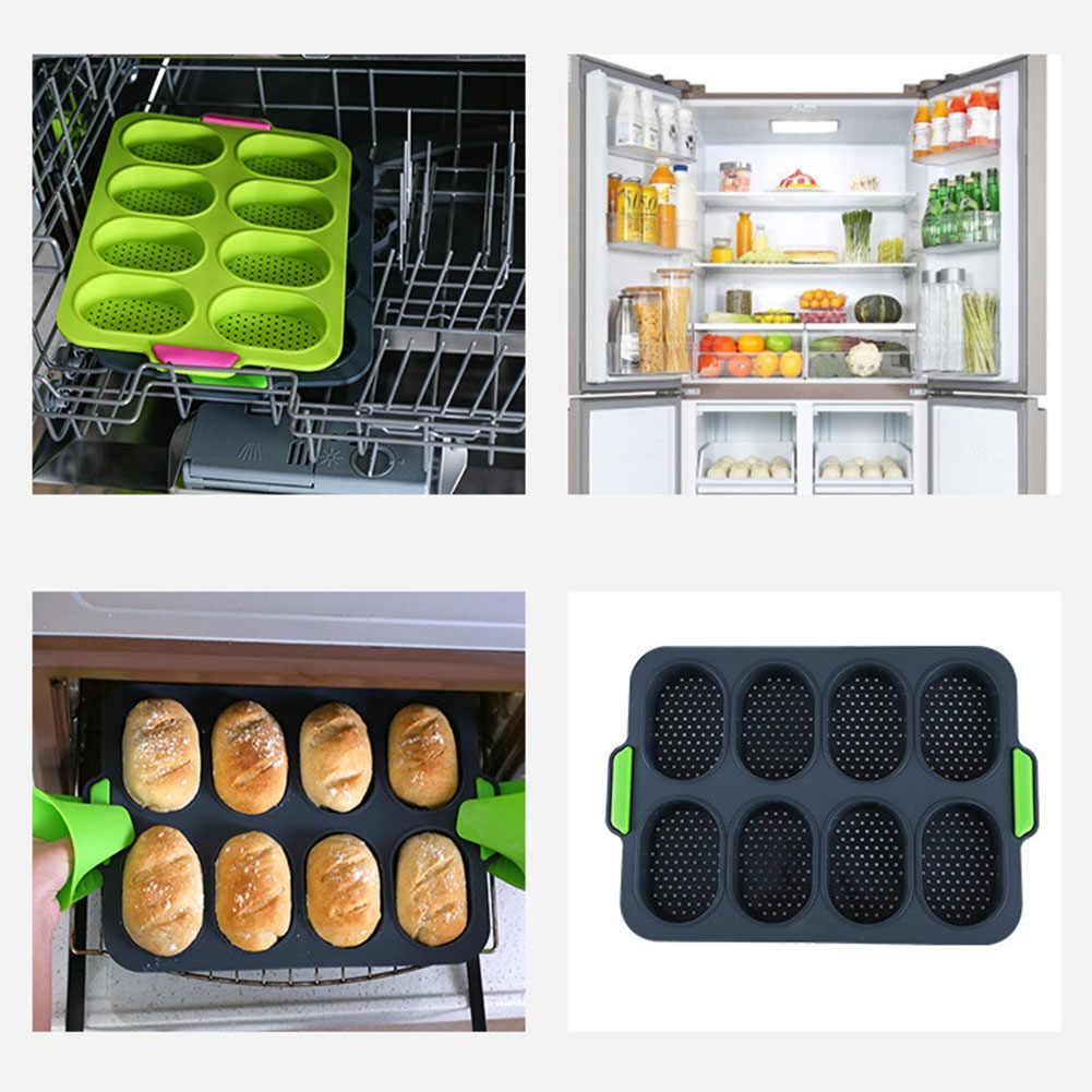 8 buraco não-vara molde de pão molde de silicone cupcake pan muffin bandeja molde de queque muffin pan diy hambúrguer pão pan cozimento