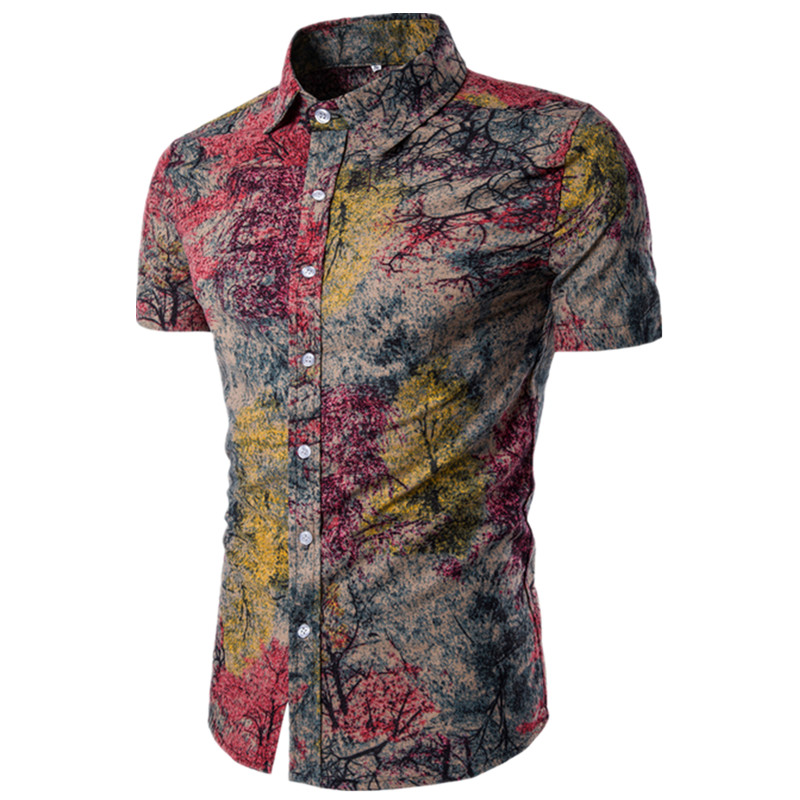 2019 Summer New Men's Fashion Boutique Cotton Linen Printed Casual Short-sleeved Shirts / Men's Leisure Short-sleeved Shirts