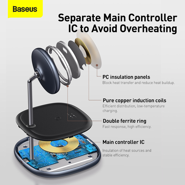 Baseus Magnetic Wireless Charger For iPhone 12 Pro Max Desktop Phone Stand Wireless Charger For Airpods Xiaomi Samsung 5