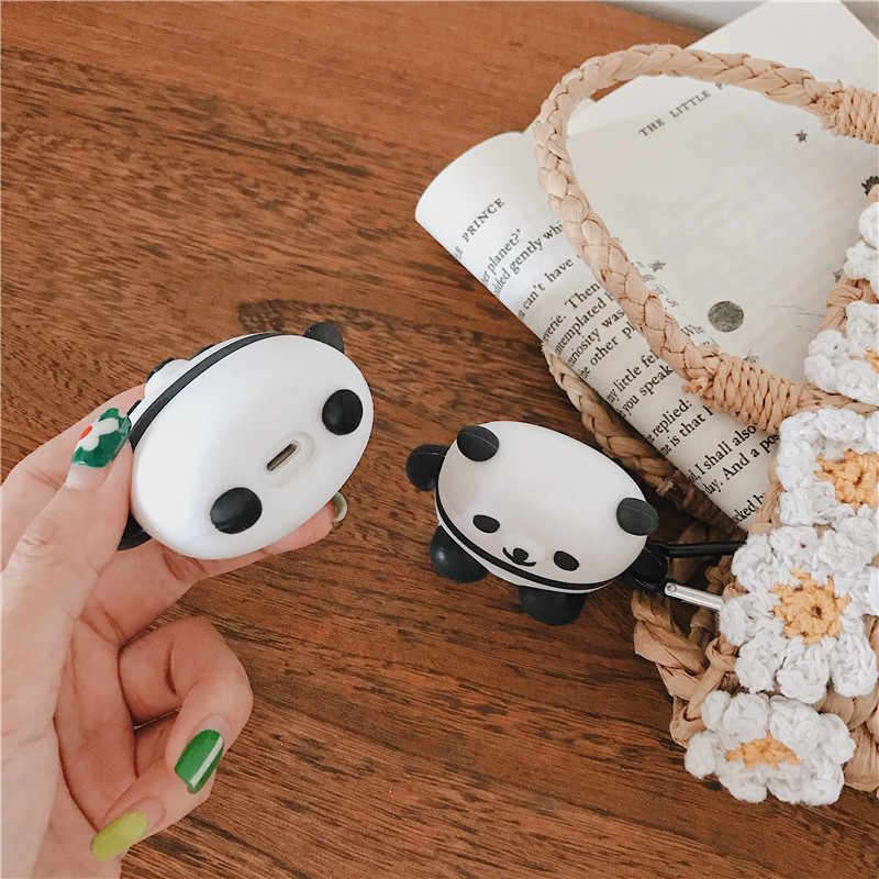 Funda divertida Linda panda Bluetooth para auriculares para Apple Airpods funda de silicona de dibujos animados caja de auriculares bolsa de auriculares para cápsulas de aire
