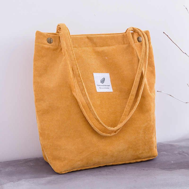 Femmes velours côtelé sac à provisions femme toile tissu sac à bandoulière environnement stockage sac à main réutilisable pliable Eco épicerie fourre-tout